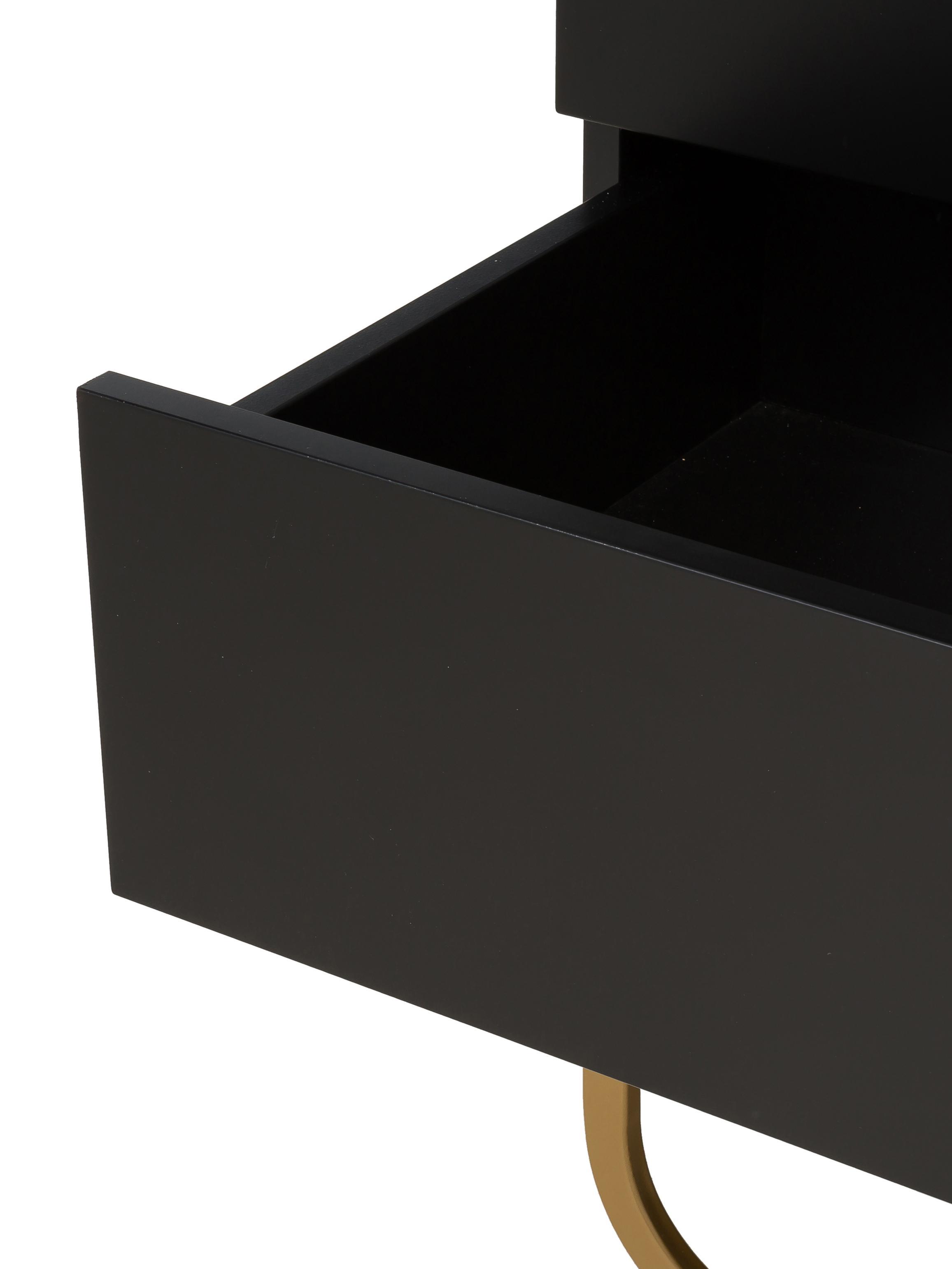 Cassettiera nera Sanford, Struttura: pannello di fibra a media, Struttura: nero opaco Gambe: dorato opaco, Larg. 80 x Alt. 106 cm