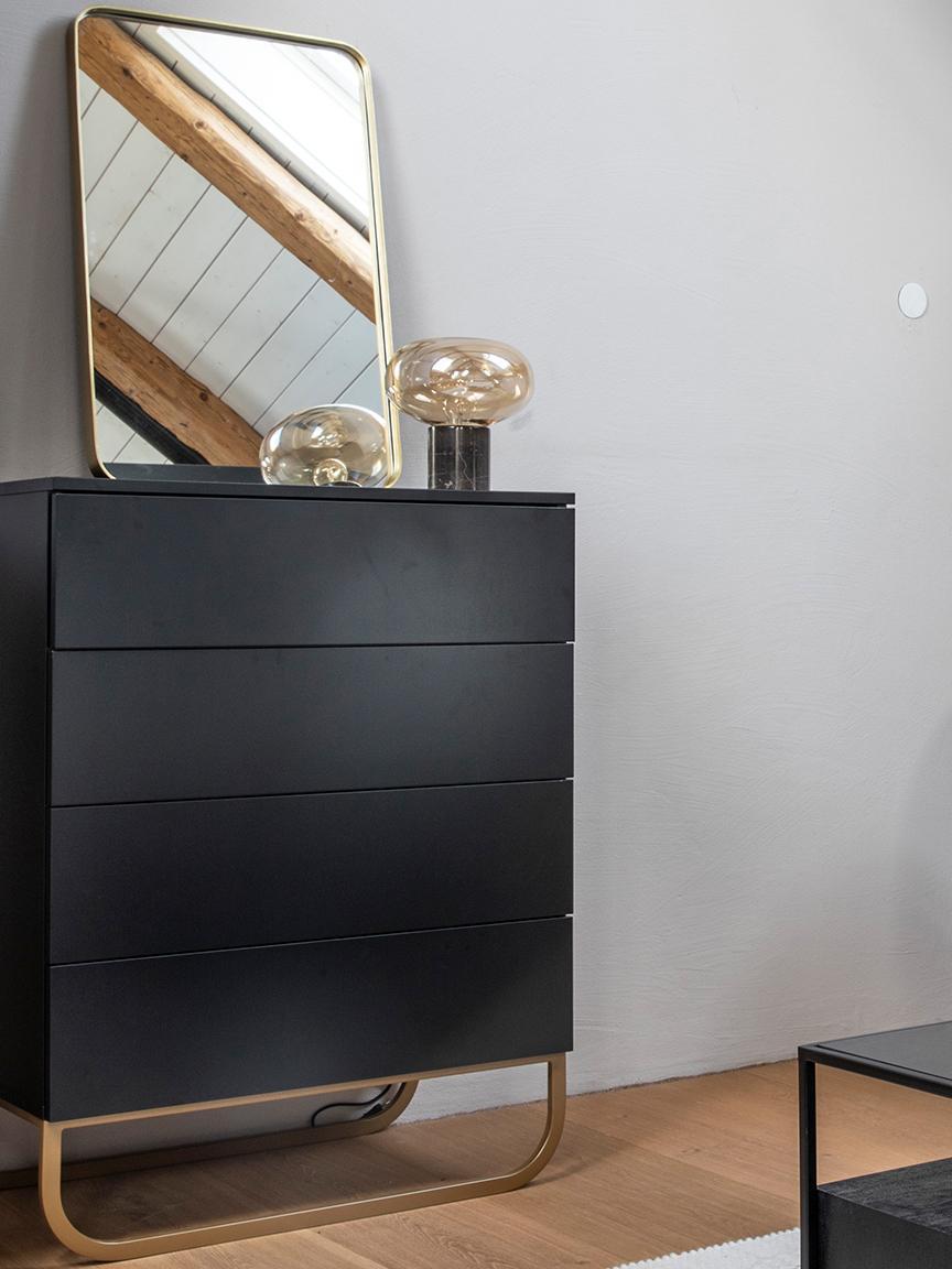 Komoda Sanford, Konstrukce: matná černá Podstava: matná bílá