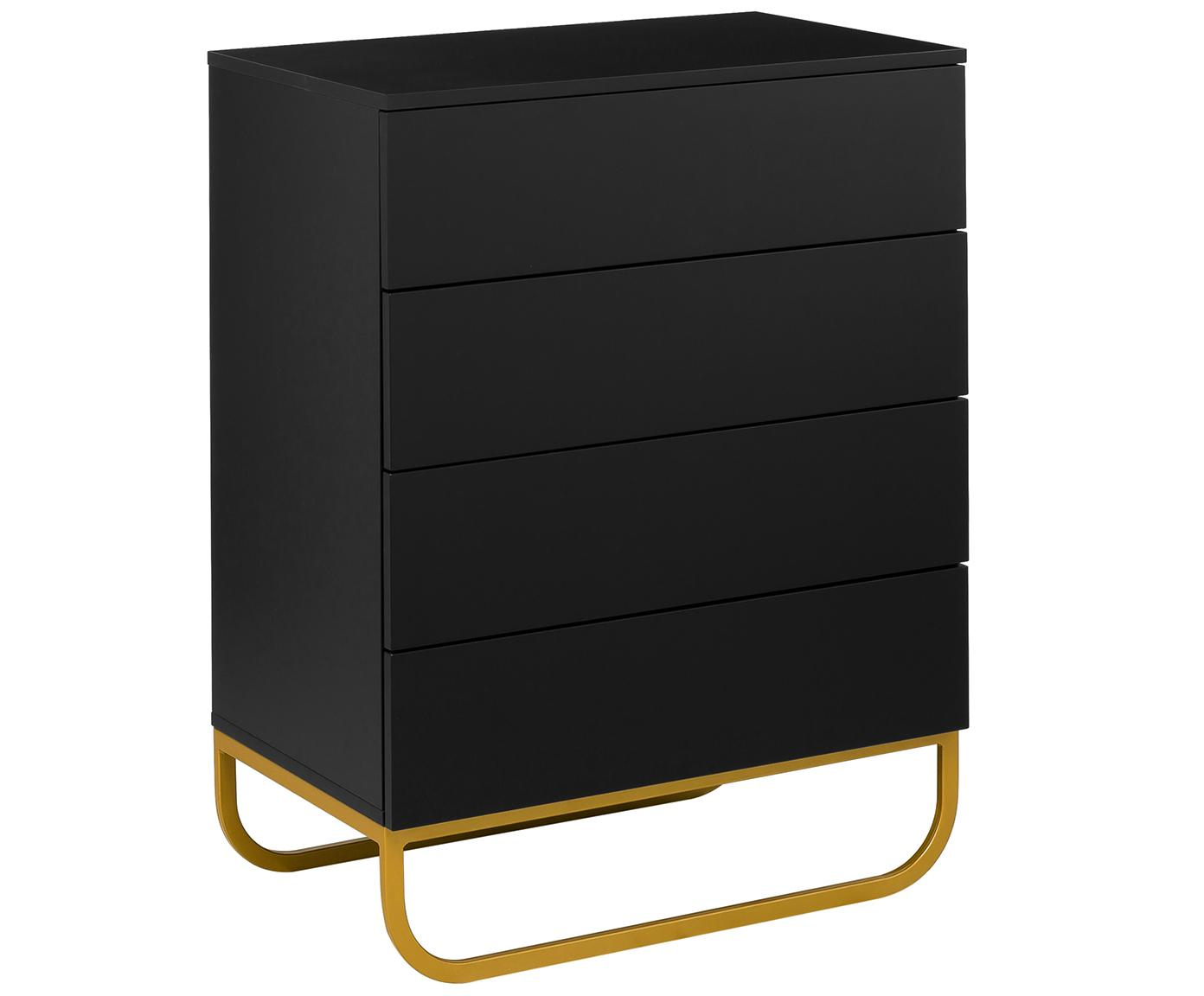 Schubladenkommode Sanford in Schwarz, Korpus: Mitteldichte Holzfaserpla, Fußgestell: Metall, pulverbeschichtet, Korpus: Schwarz, mattFußgestell: Goldfarben, matt, 80 x 106 cm