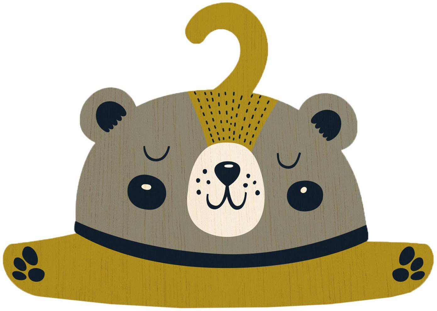 Percha Bear, Madera contrachapada, recubierta, Greige, mostaza, negro, crema, An 30 x Al 30 cm