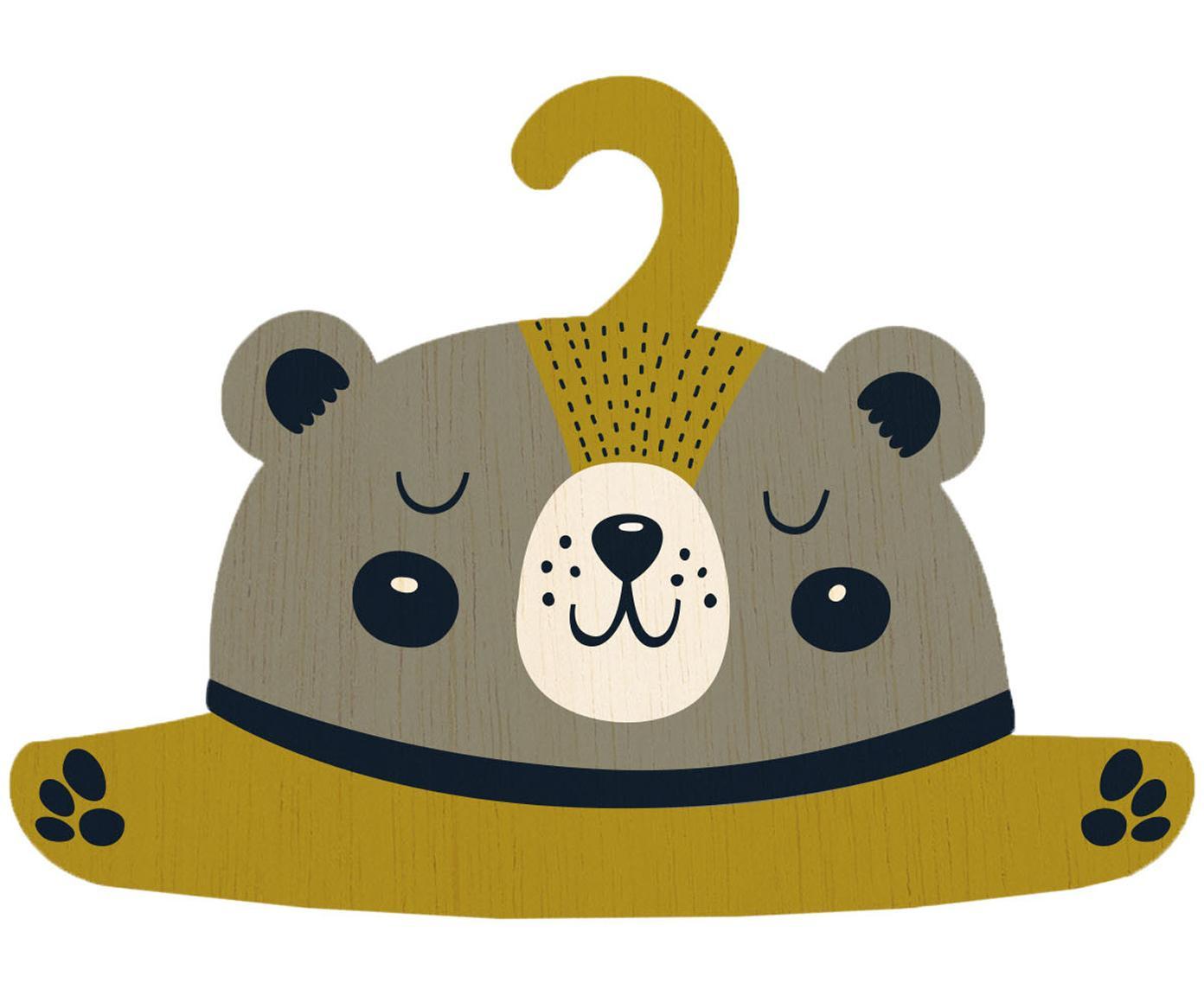 Wieszak na ubrania Bear, Sklejka powlekana, Greige, musztardowy, czarny, kremowy, S 30 x W 30 cm