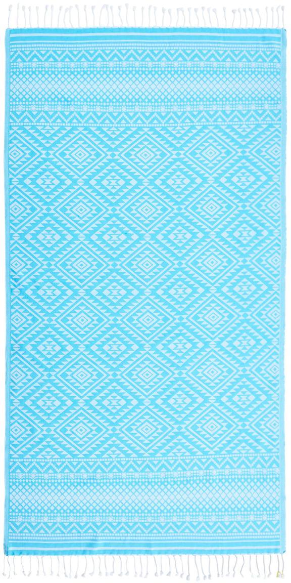 Gemustertes Hamamtuch Cisha mit Frottee-Rückseite, Türkis, Weiss, 90 x 160 cm