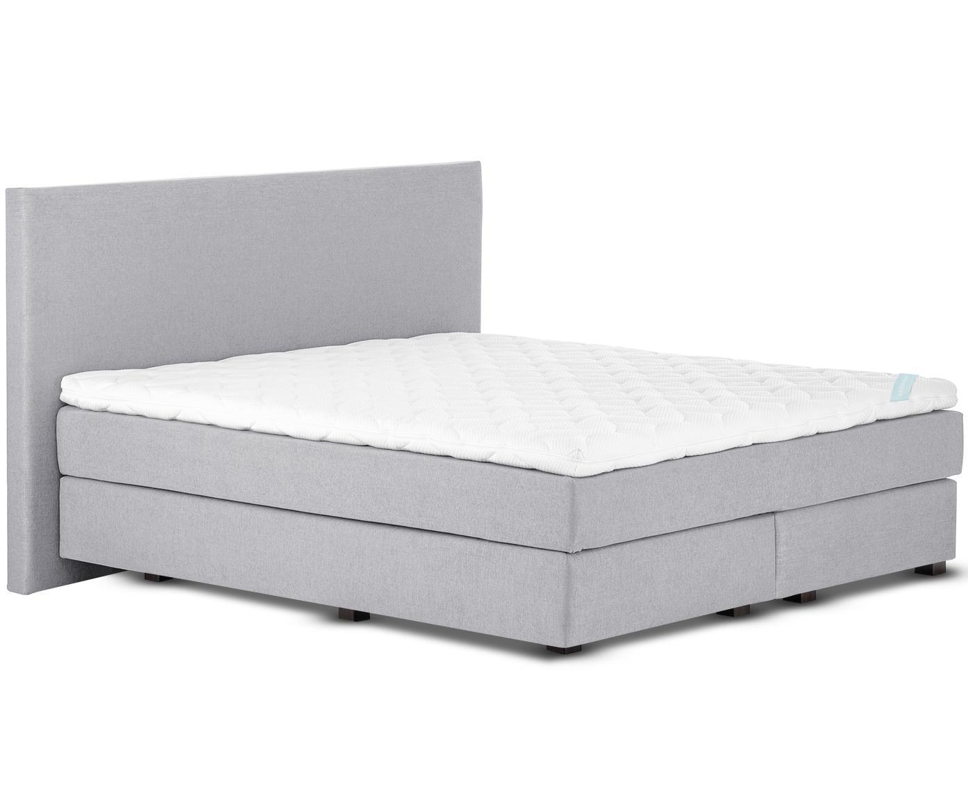 Łóżko kontynentalne premium Eliza, Nogi: lite drewno bukowe, lakie, Szary, 140 x 200 cm