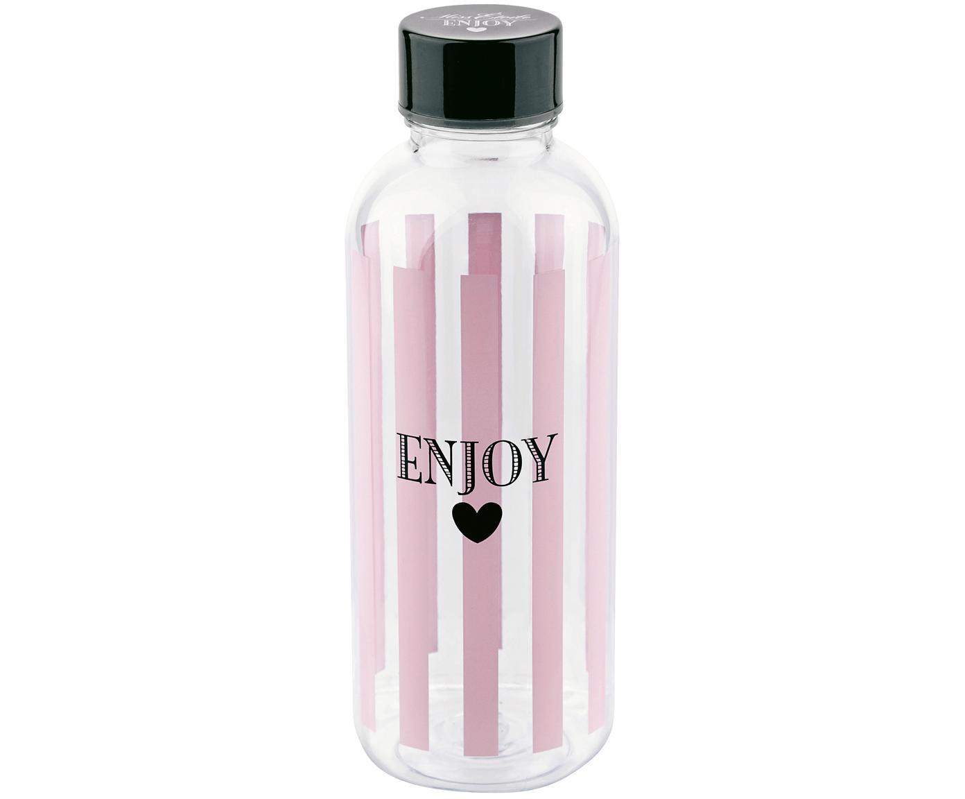 Drinkfles  Enjoy, Kunststof, vrij van BPA en ftalaten, Fles: transparant, roze, zwart<br>Deksel: zwart, Ø 8 x H 21 cm