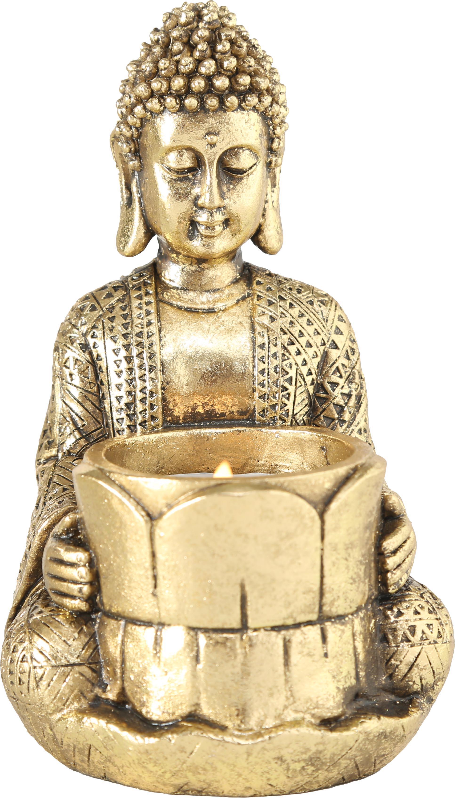 Teelichthalter-Set Jarven, 3-tlg., Polyresin, Goldfarben, 8 x 14 cm