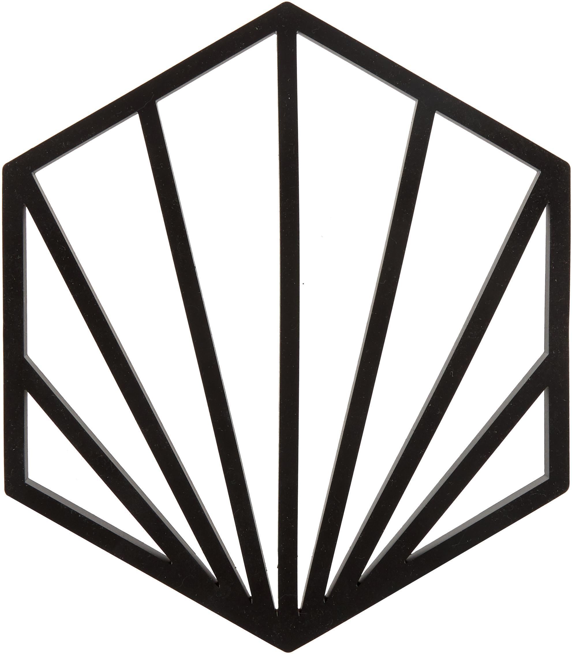 Silikon Topfuntersetzer Shell, 2 Stück, Silikon, Schwarz, 16 x 1 cm