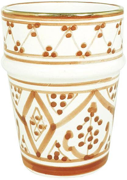 Handgemachter Becher Beldi im marokkanischem Stil, Keramik, Orange, Cremefarben, Gold, Ø 8 x H 11 cm