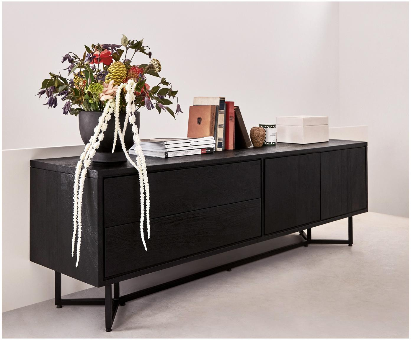 Dressoir Luca van massief hout, Frame: gepoedercoat metaal, Raamwerk: zwart, gelakt. Frame: mat zwart, 160 x 70 cm