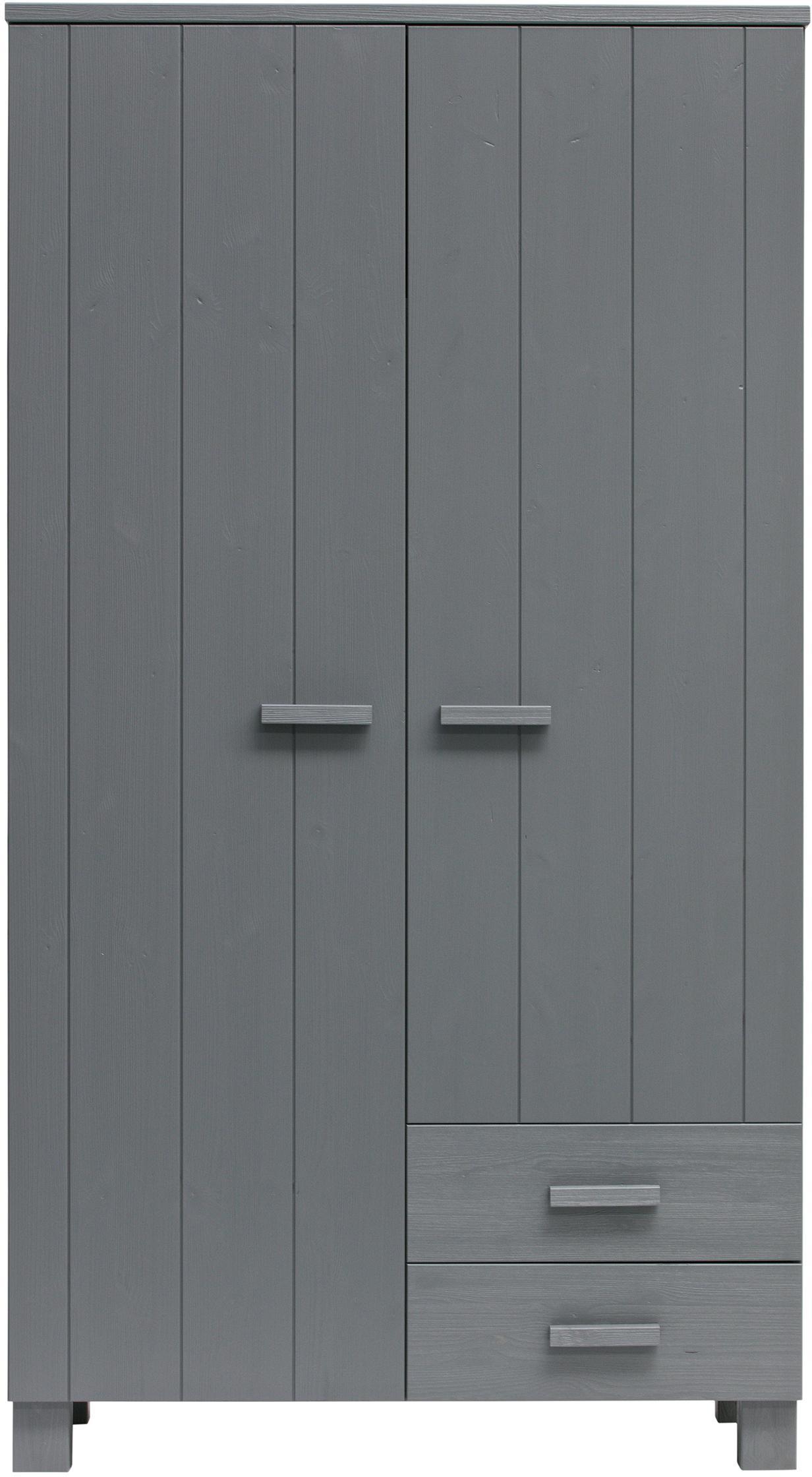 Kleiderschrank Dennis mit Schubladen, Korpus: Kiefernholz, gebürstet un, Stahlgrau, 111 x 202 cm