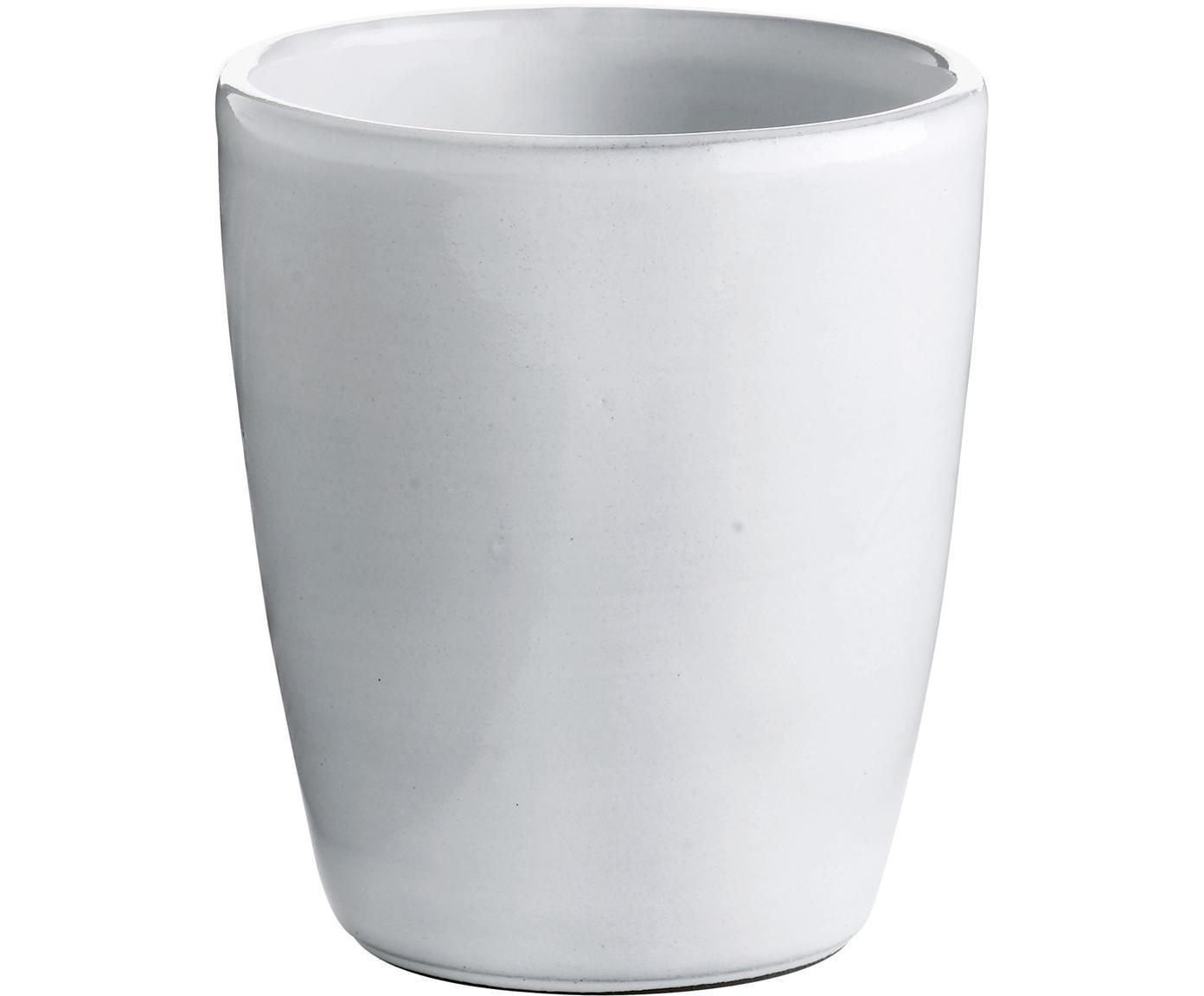 Keramik-Becher Haze in Weiß, 2 Stück, Keramik, glasiert, Weiß, Grau, Ø 10 x H 11 cm