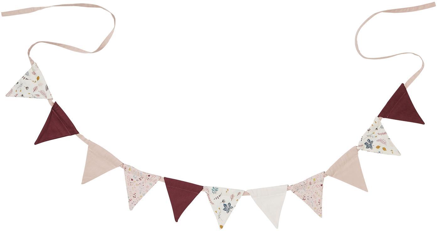 Ghirlanda in cotone organico Flags, 230 cm, Cotone organico, certificato GOTS, Bianco, rosa, rosso, blu, giallo, Lung. 230  cm
