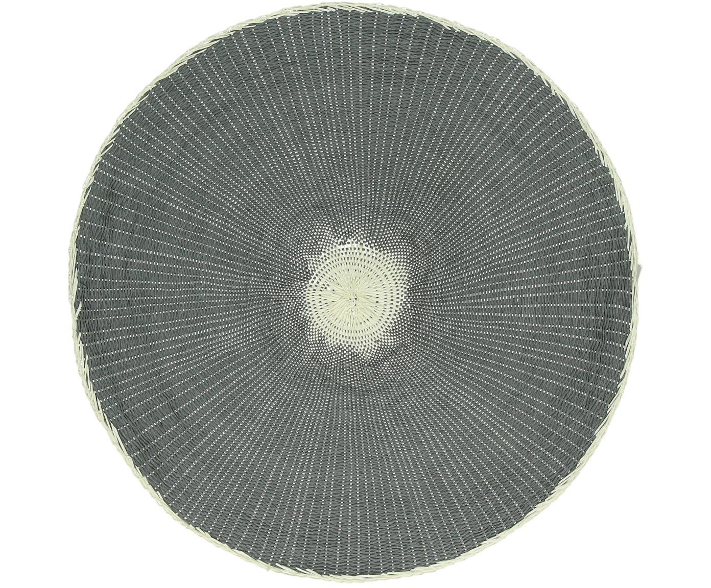 Ronde placemats Kolori, 2 stuks, Papiervezels, Grijs, crèmekleurig, Ø 38 cm