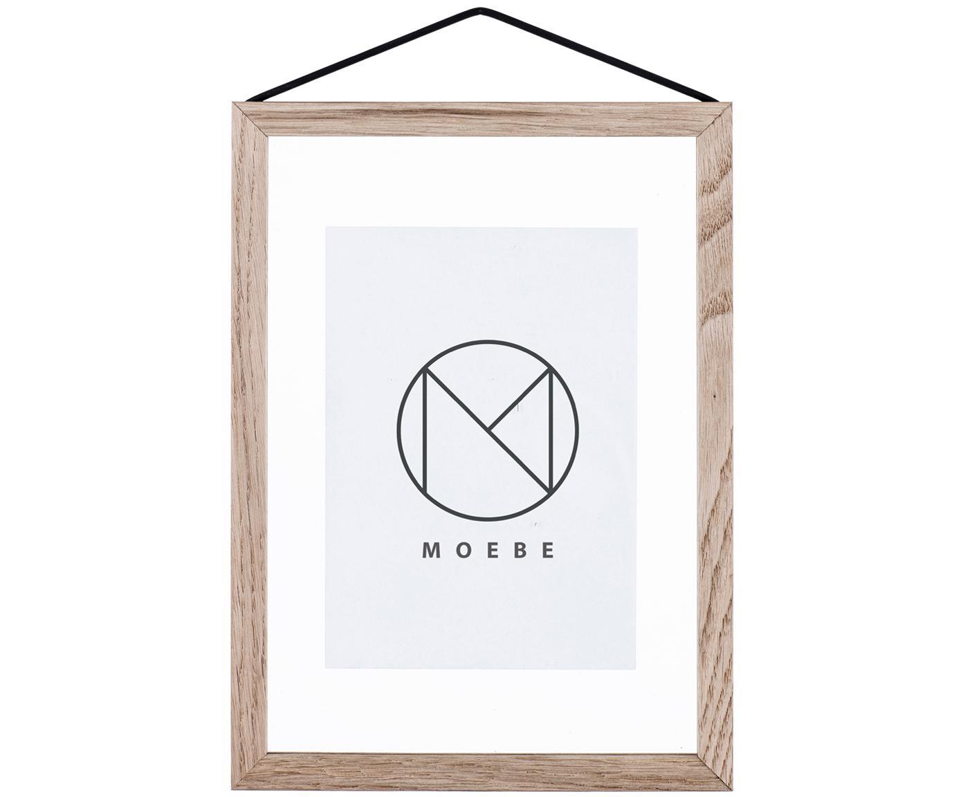 Marco Frame, Marco: roble Suspension: negro Cristal y parte trasera: transparente, An 17 x Al 23 cm