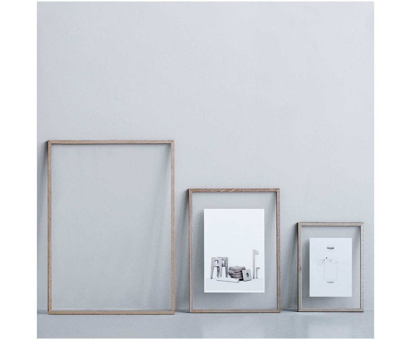 Fotolijst Frame, Frame: Eikenhout, onbehandeld, Frame: Eiken<br>Ophanging: Zwart<br>Voorkant en achterkant: Transparant, 17 x 23 cm