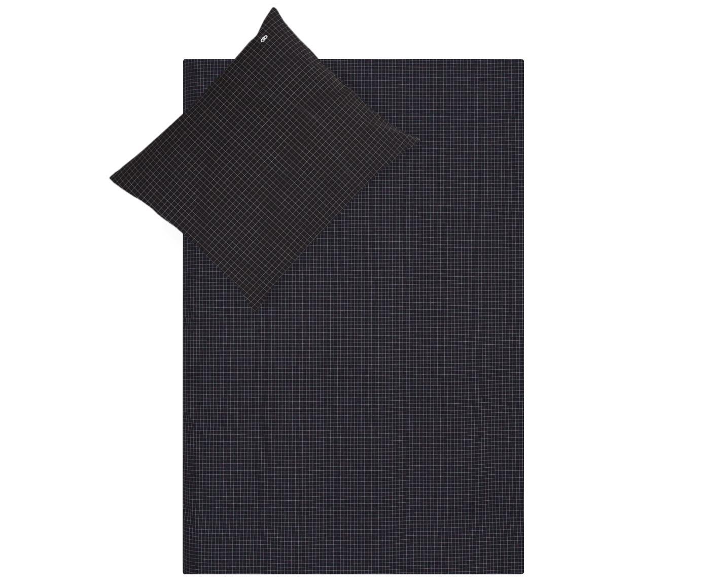 Renforcé dekbedovertrek Valerio, Weeftechniek: renforcé, Antraciet, wit, 140 x 220 cm