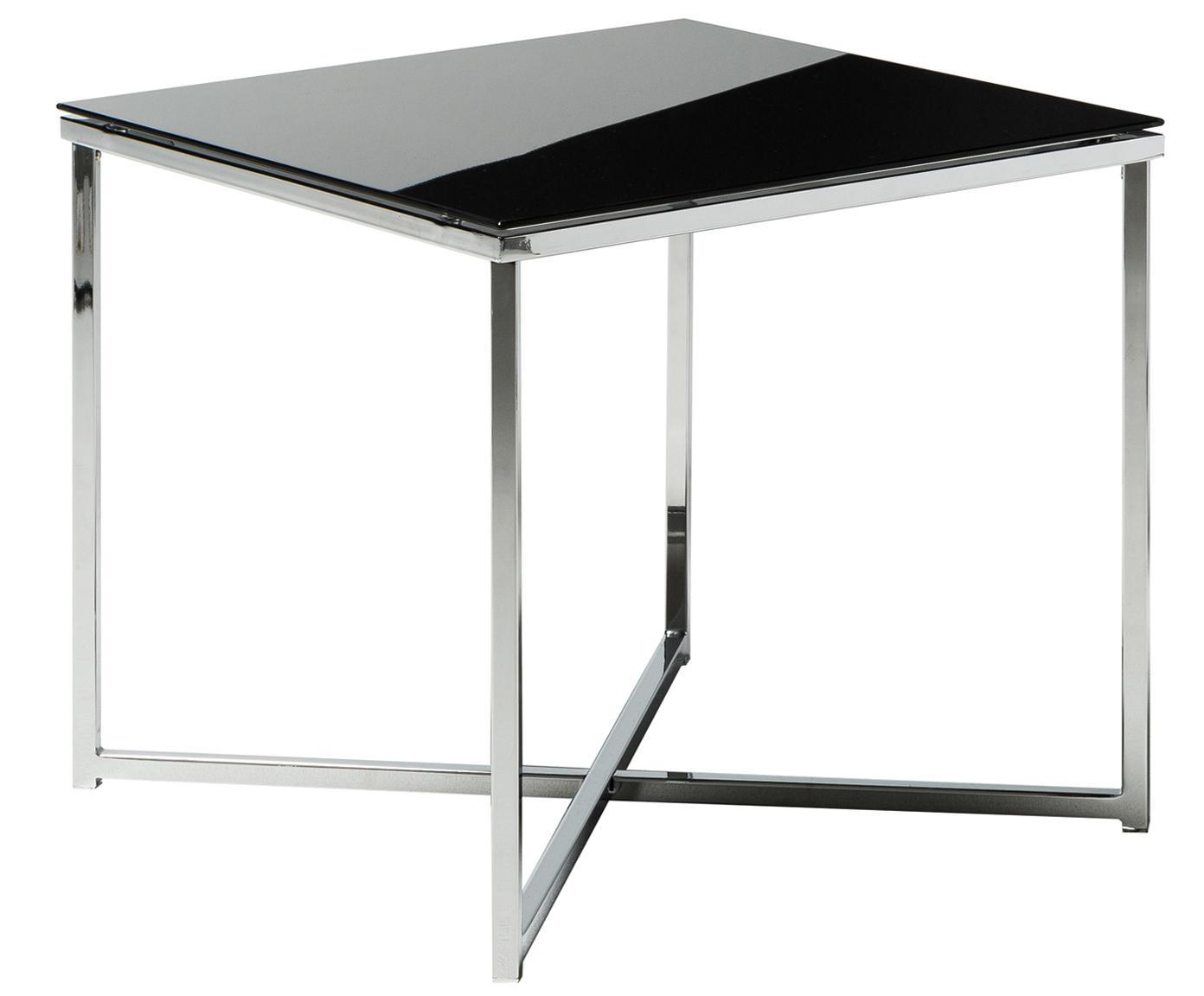 Bijzettafel Matheo met glazen tafelblad, Frame: verchroomd metaal, Tafelblad: veiligheidsglas, Zwart, verchroomd metaalkleurig, 50 x 45 cm