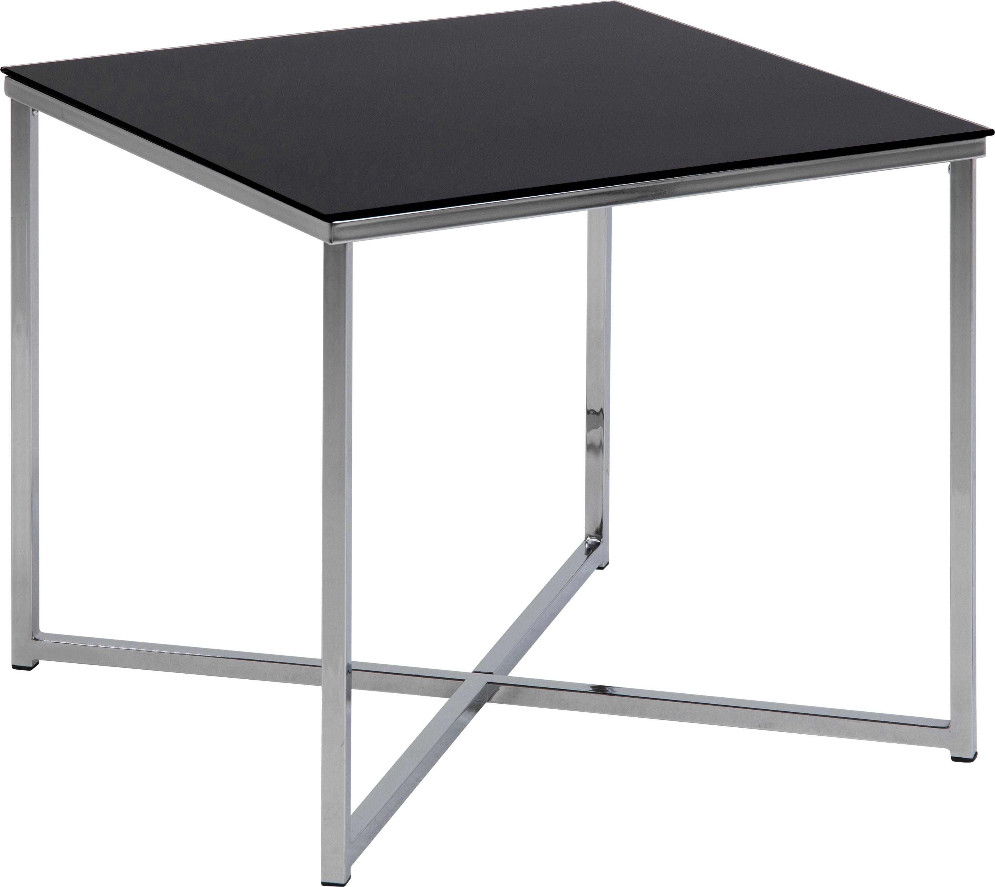 Mesa auxiliar Matheo, tablero de cristal, Estructura: metal, cromado, Tablero: vidrio laminado, Negro, metal cromado, An 50 x Al 45 cm