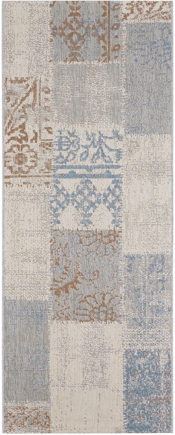 In- & Outdoor-Läufer Symi, 100% Polypropylen, Beige, Blau, Braun, Grau, 80 x 200 cm