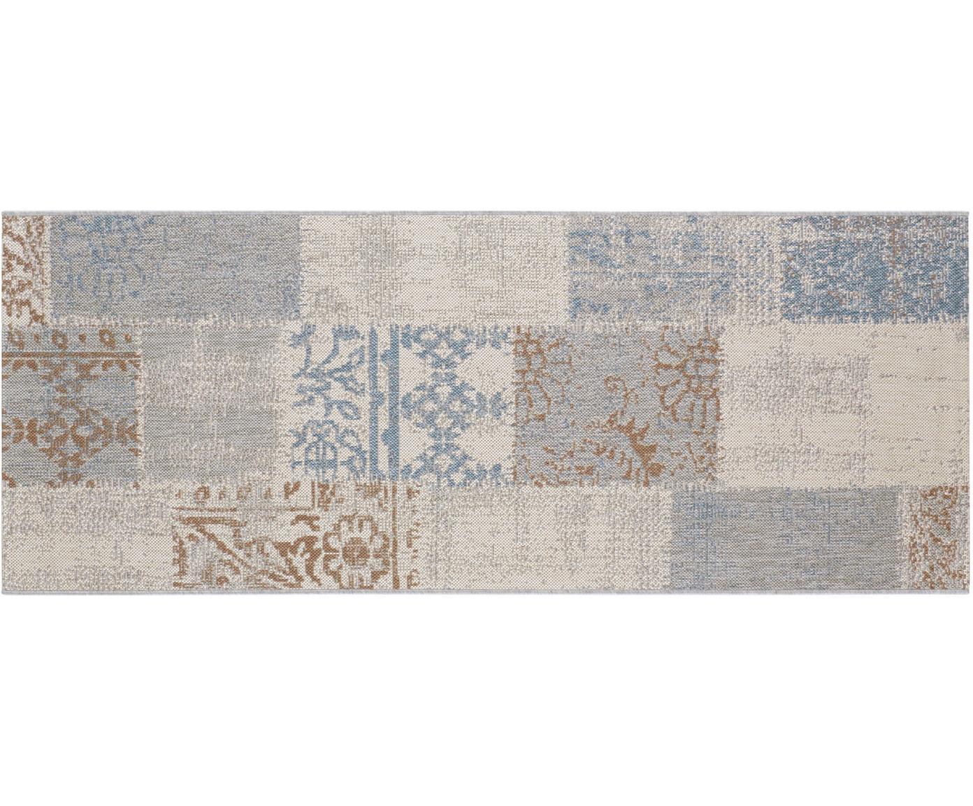In- en outdoor loper Symi, Polypropyleen, Beige, blauw, bruin, grijs, 80 x 200 cm