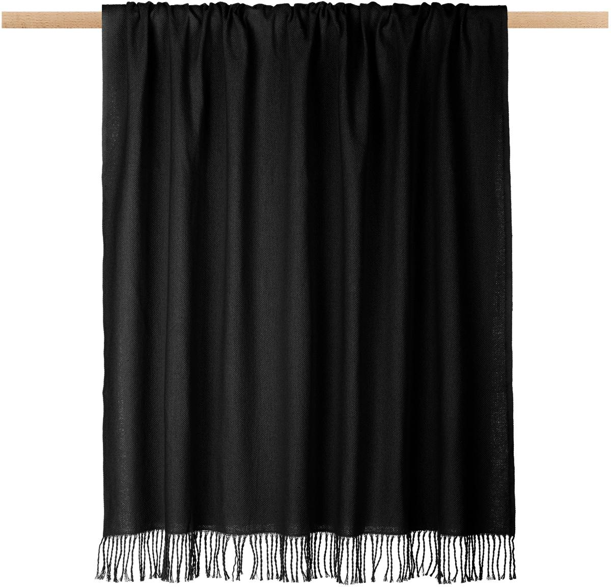 Einfarbiges Plaid Madison in Schwarz mit Fransenabschluss, 100% Baumwolle, Schwarz, 130 x 170 cm