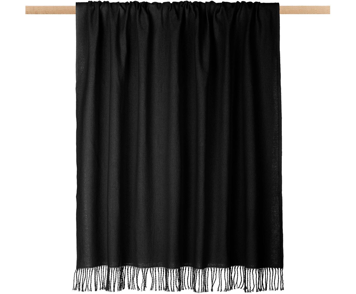 Plaid Madison met franjes, Katoen, Zwart, 130 x 170 cm