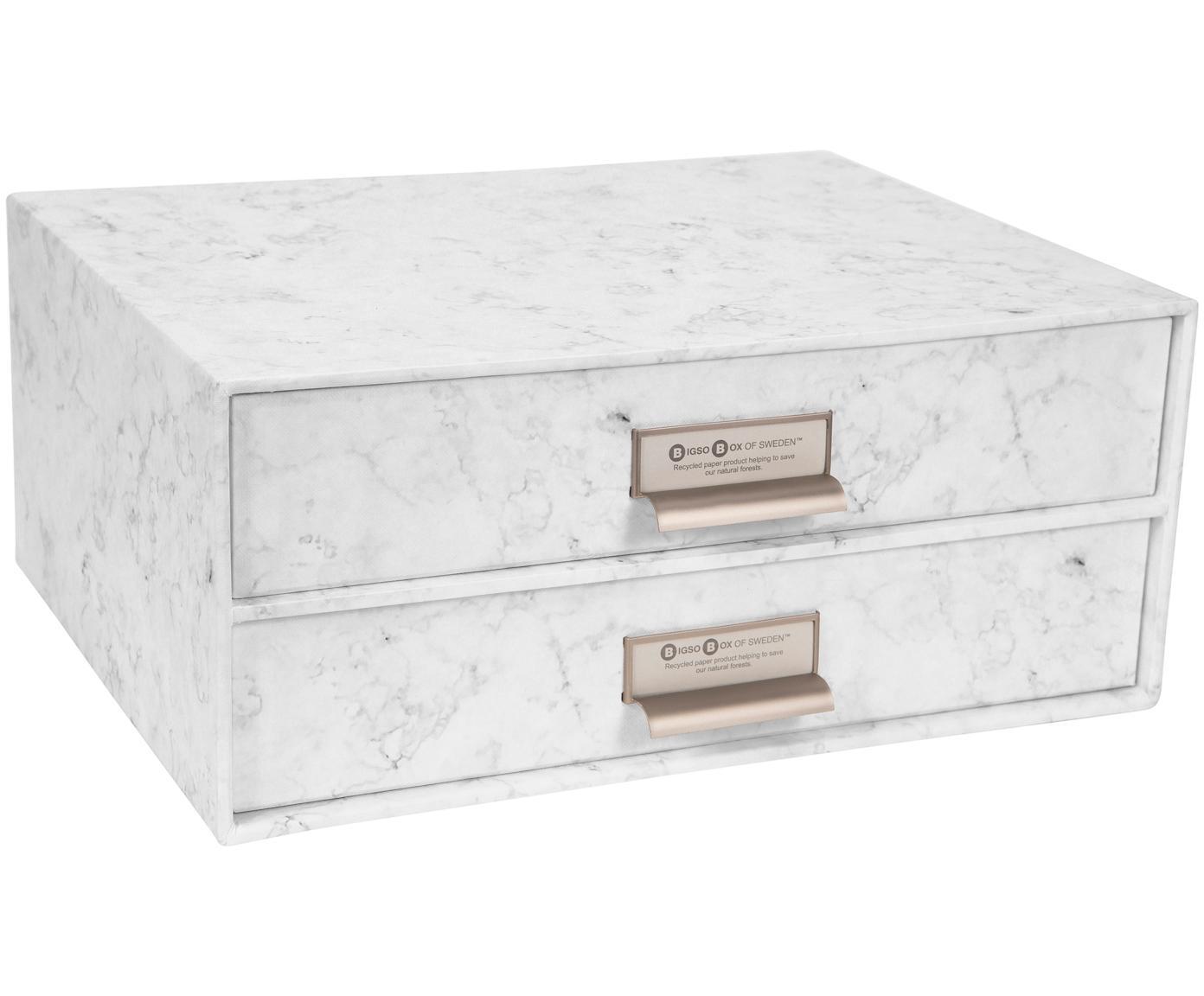 Organizer da ufficio Birger, Organizer: solido, cartone laminato, Bianco marmorizzato, Larg. 33 x Alt. 15 cm