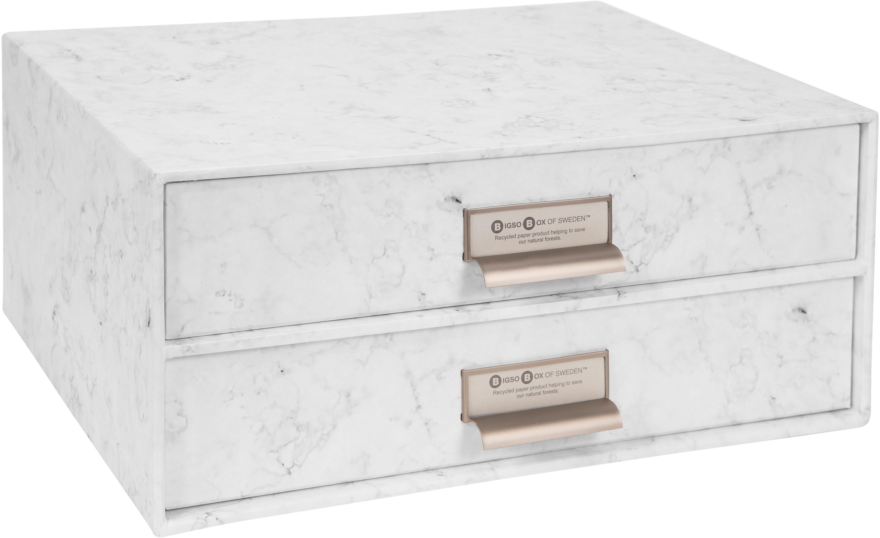 Büro-Organizer Birger, Organizer: Fester, laminierter Karto, Weiss, marmoriert, 33 x 15 cm