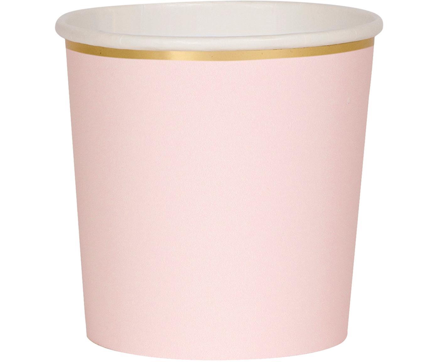 Kubek z papieru Simply Eco, 8 szt., Papier, foliowany, Blady różowy, Ø 8 x W 8 cm