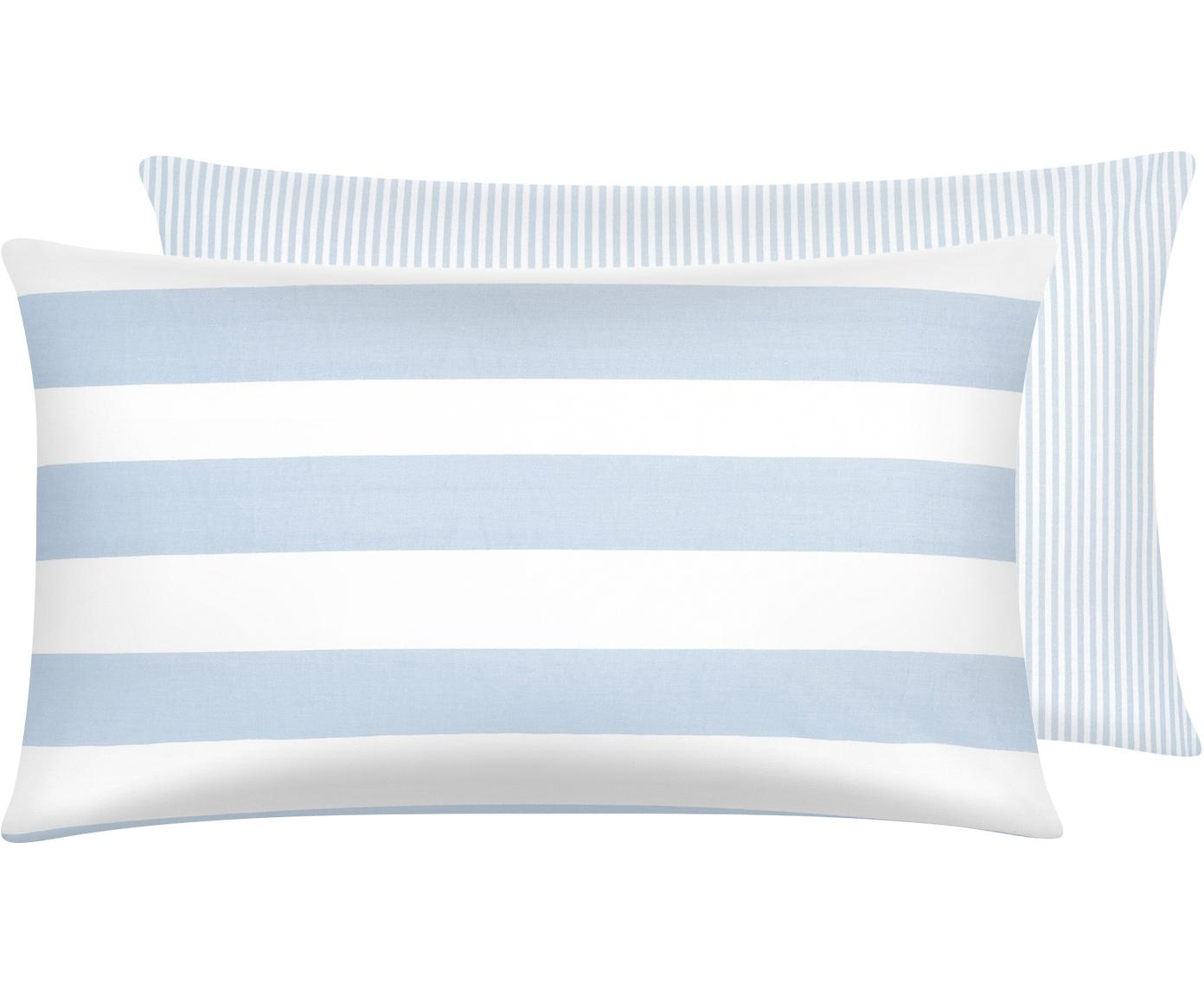 Funda de almohada de tejido renforcé Lorena, caras distintas, Azul claro, blanco crema, An 50 x L 70 cm
