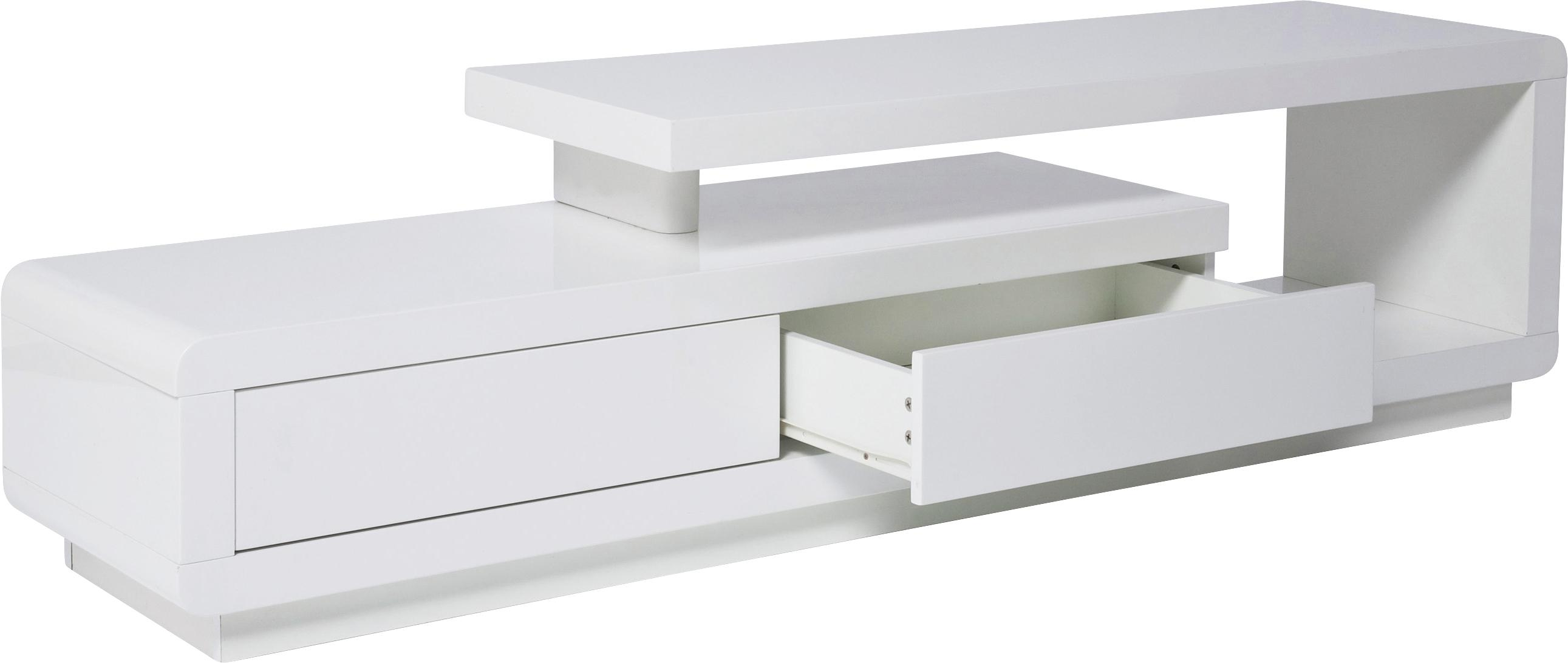 Mobile TV bianco Loft, Pannello di fibra a media densità (MDF), verniciato, Bianco, Larg. 170 x Prof. 45 cm