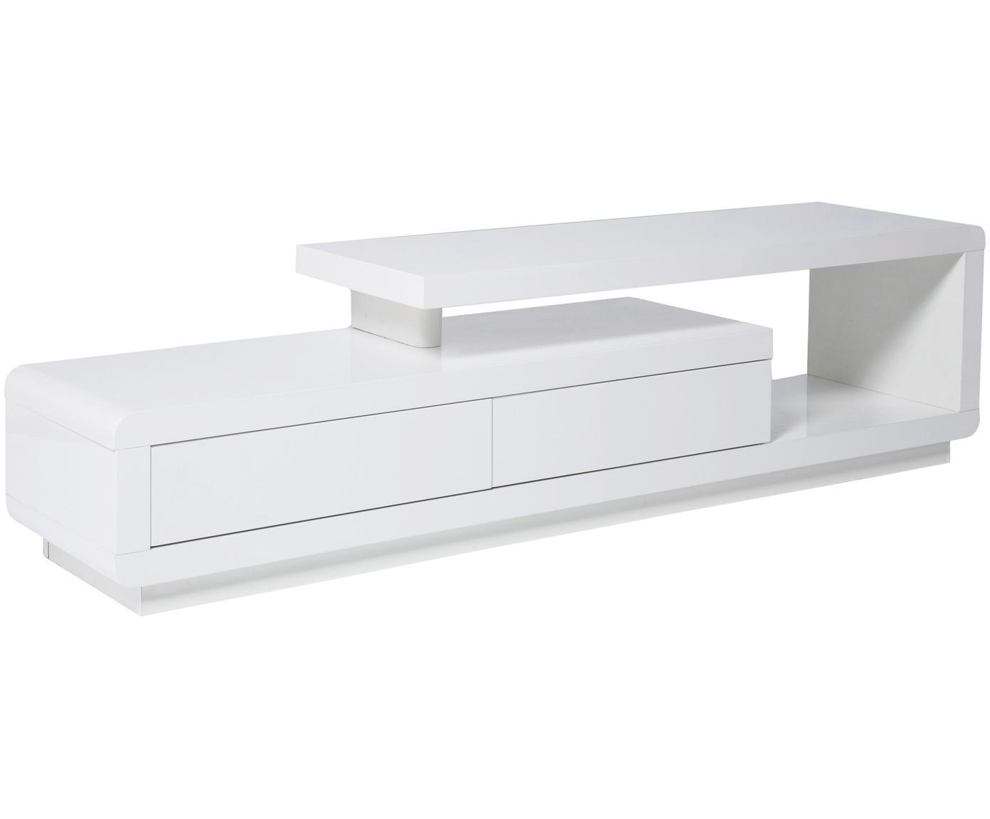 TV-Lowboard Loft in Weiß, Mitteldichte Holzfaserplatte (MDF), lackiert, Weiß, 170 x 45 cm