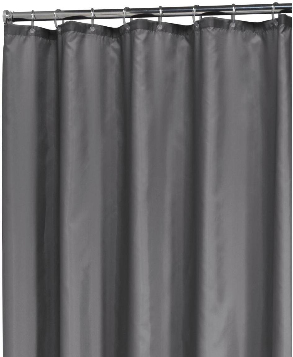 Eenkleurig douchegordijn Madeira in donkergrijs, 100% polyester Waterafstotend, niet waterdicht, Donkergrijs, 180 x 200 cm