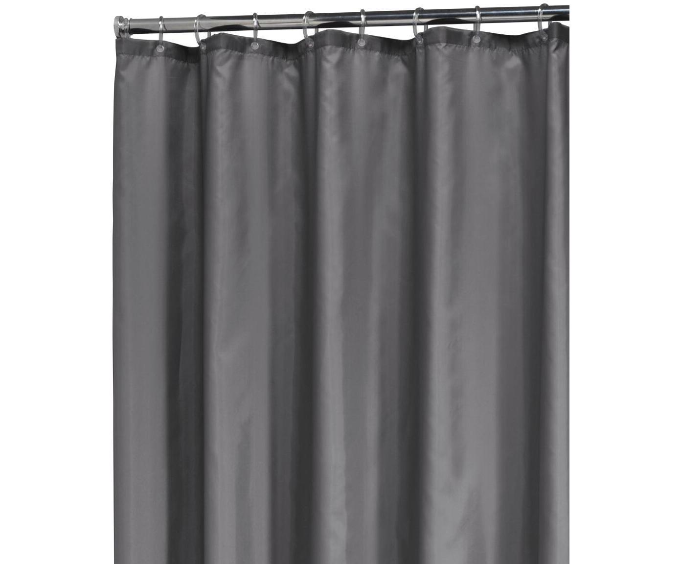 Zasłona prysznicowa Madeira, Poliester Produkt odporny na wilgoć, niewodoodporny, Ciemny szary, S 180 x D 200 cm