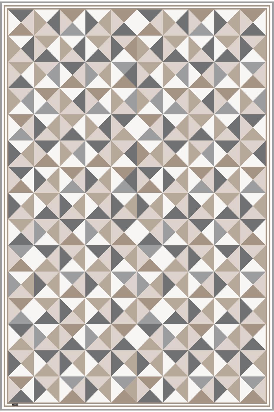 Vinyl-Bodenmatte Haakon, Vinyl, recycelbar, Grautöne, Beigetöne, Weiß, 135 x 200 cm