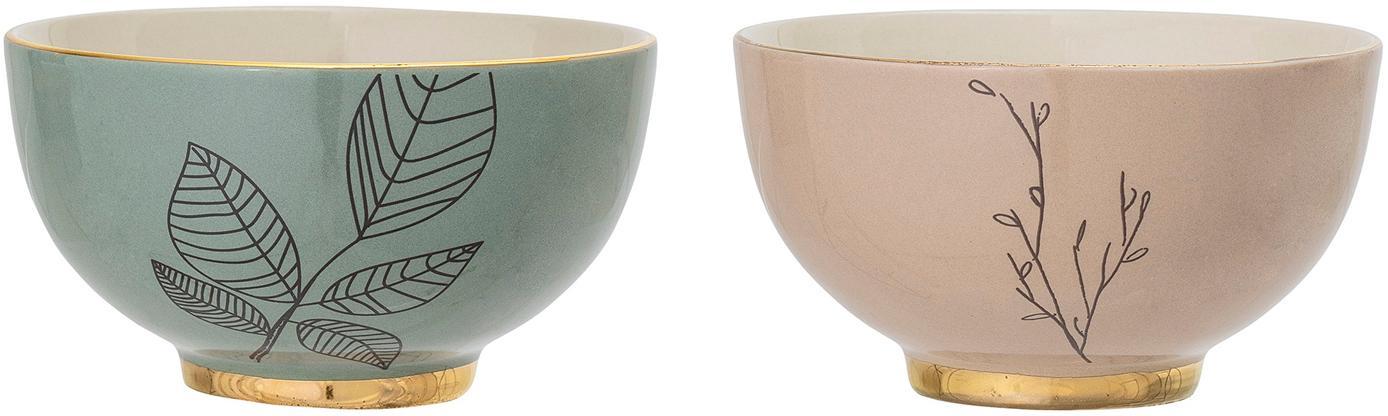 Schälchen Rio mit gezeichnetem Motiv, 2er-Set, Keramik, Grün, Rosa, Ø 14 x H 8 cm