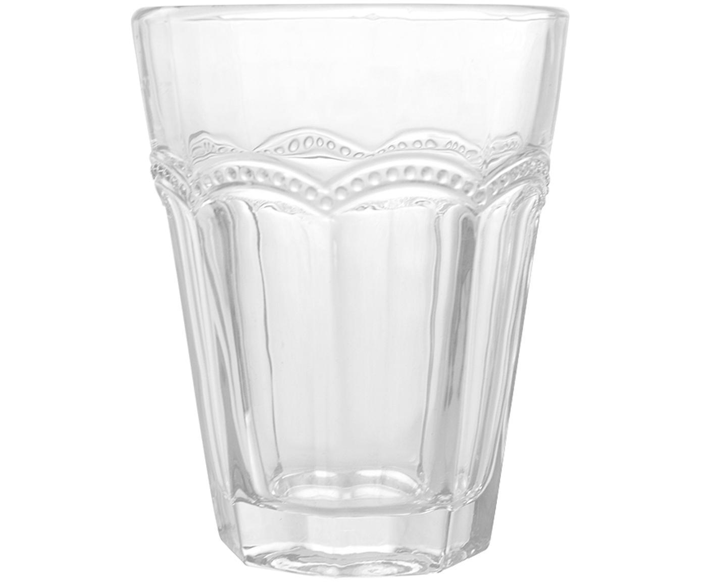 Vasos con relieve Floyd, 6uds., Vidrio, Transparente, Ø 9 x Al 11 cm