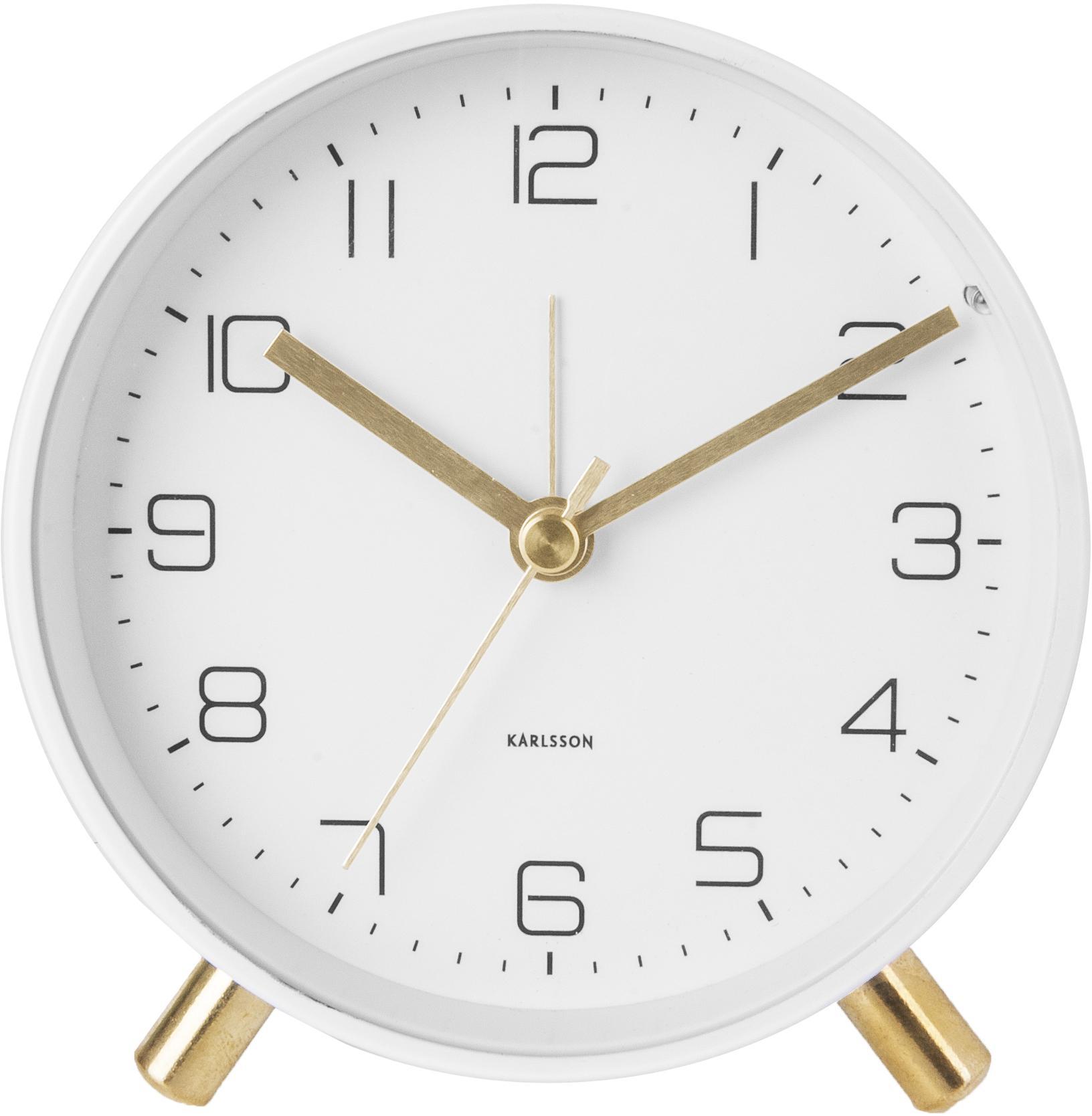 Sveglia Lofty, Metallo verniciato, Bianco, Ø 11 x Prof. 5 cm
