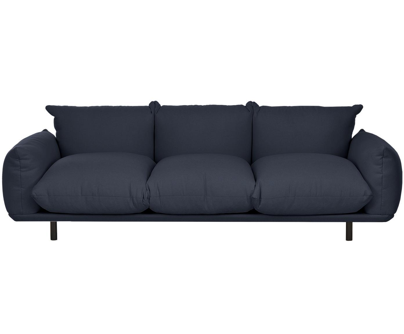 Bank Saga (4-zits), Bekleding: 100% polyester, Frame: massief berkenhout, Poten: gepoedercoat metaal, Donkerblauw, B 232 x D 103 cm