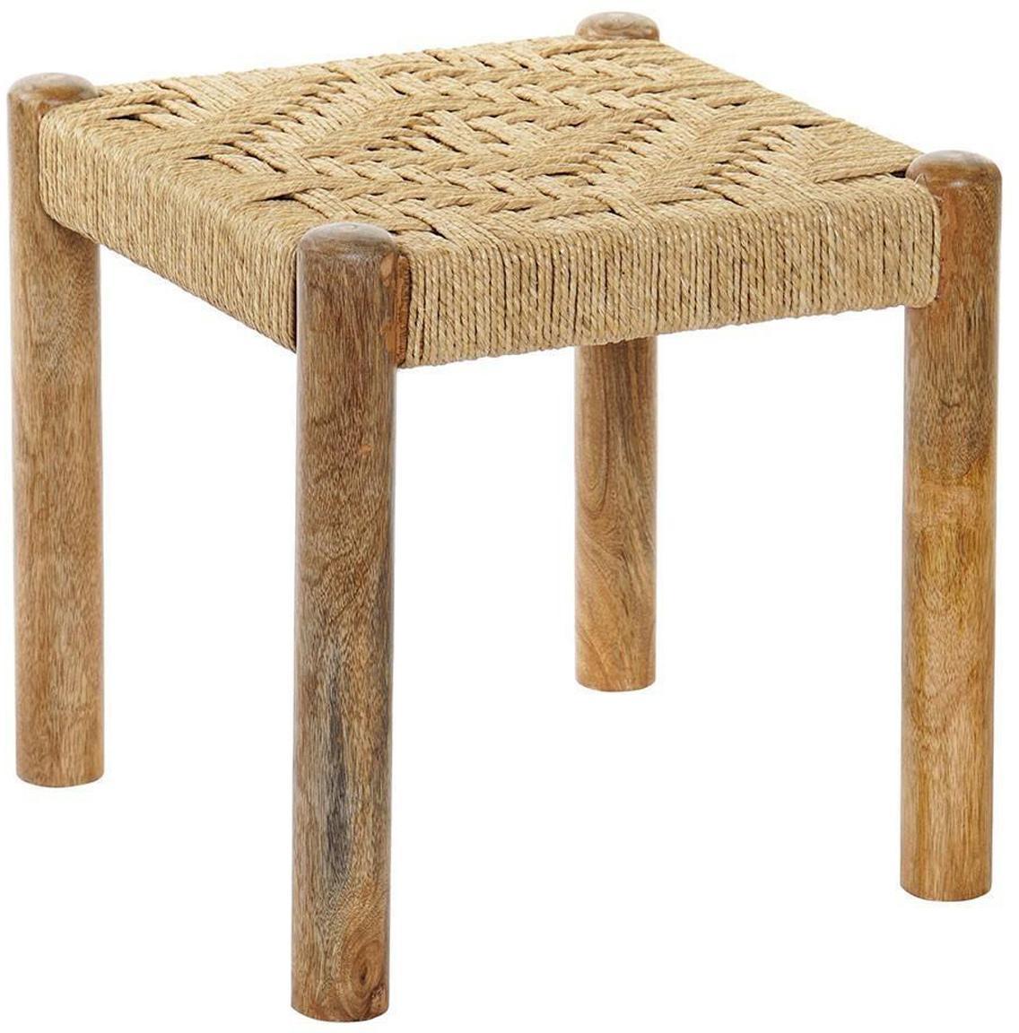 Taburete Bohmi, Patas: madera, Asiento: cuerda, Beige, An 40 x Al 40 cm