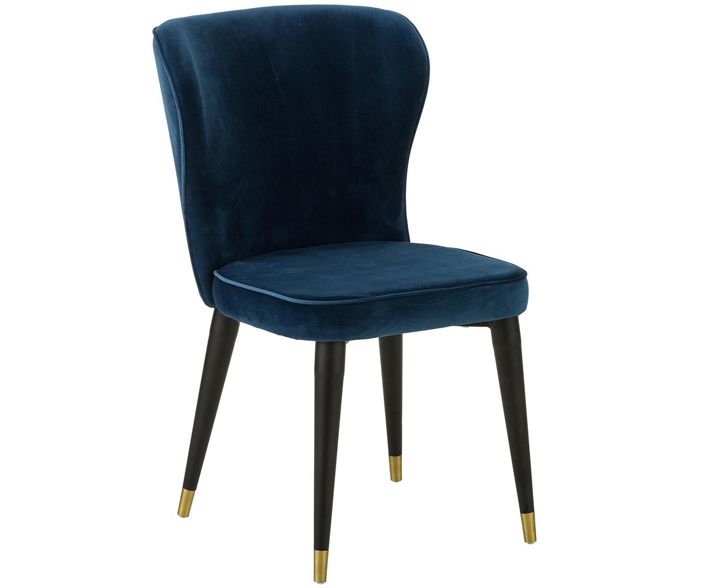 Fluweel gestoffeerde stoel Cleo, Bekleding: fluweel (polyester), Poten: gelakt metaal, Marineblauw, B 51  x D 62 cm