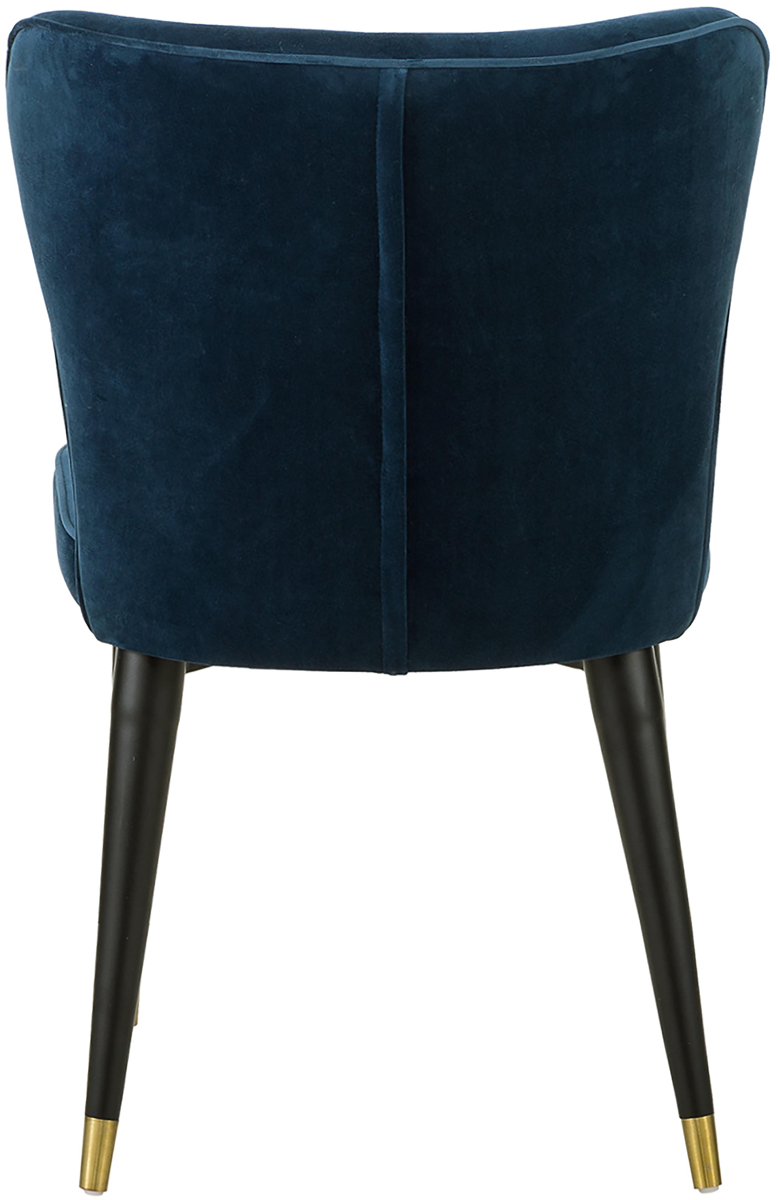 Klassischer Samt-Polsterstuhl Cleo, Bezug: Samt (Polyester) 50.000 S, Beine: Metall, lackiert, Dunkelblau, B 51 x T 62 cm