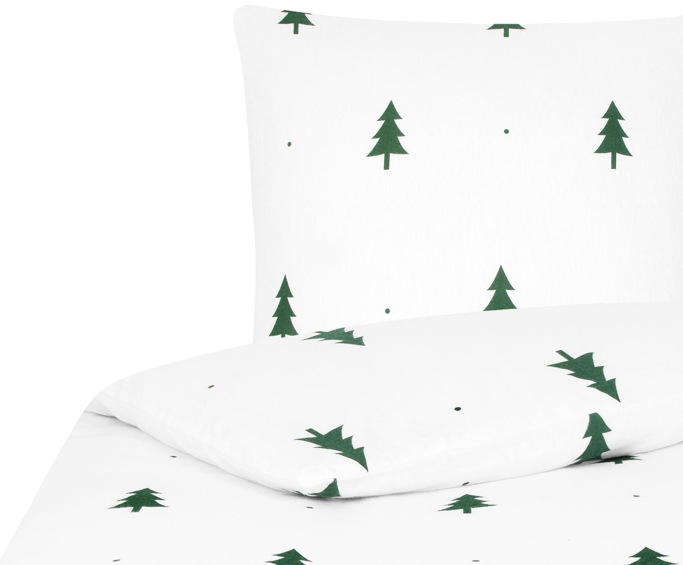 Flanell-Bettwäsche X-mas Tree mit Tannenbäumen, Webart: Flanell Flanell ist ein s, Weiß, Grün, 135 x 200 cm + 1 Kissen 80 x 80 cm