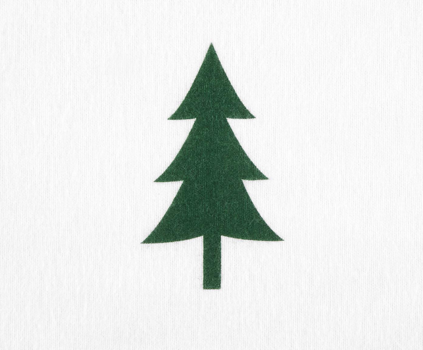 Pościel z flaneli Nordic, Biały, zielony, 240 x 220 cm