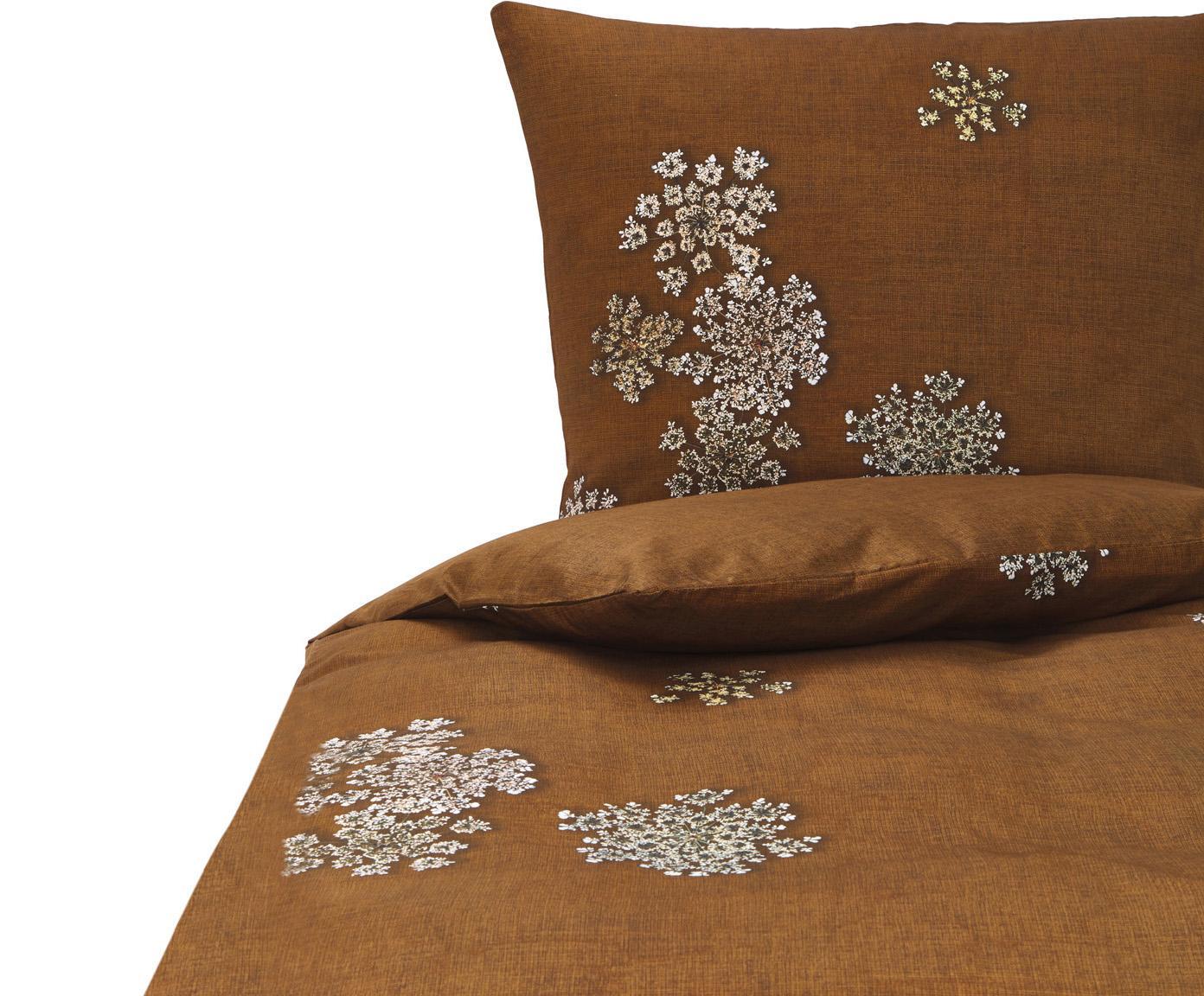 Baumwollsatin-Bettwäsche Lauren mit Blüten-Muster, Webart: Satin Baumwollsatin wird , Zimtbraun, 135 x 200 cm + 1 Kissen 80 x 80 cm