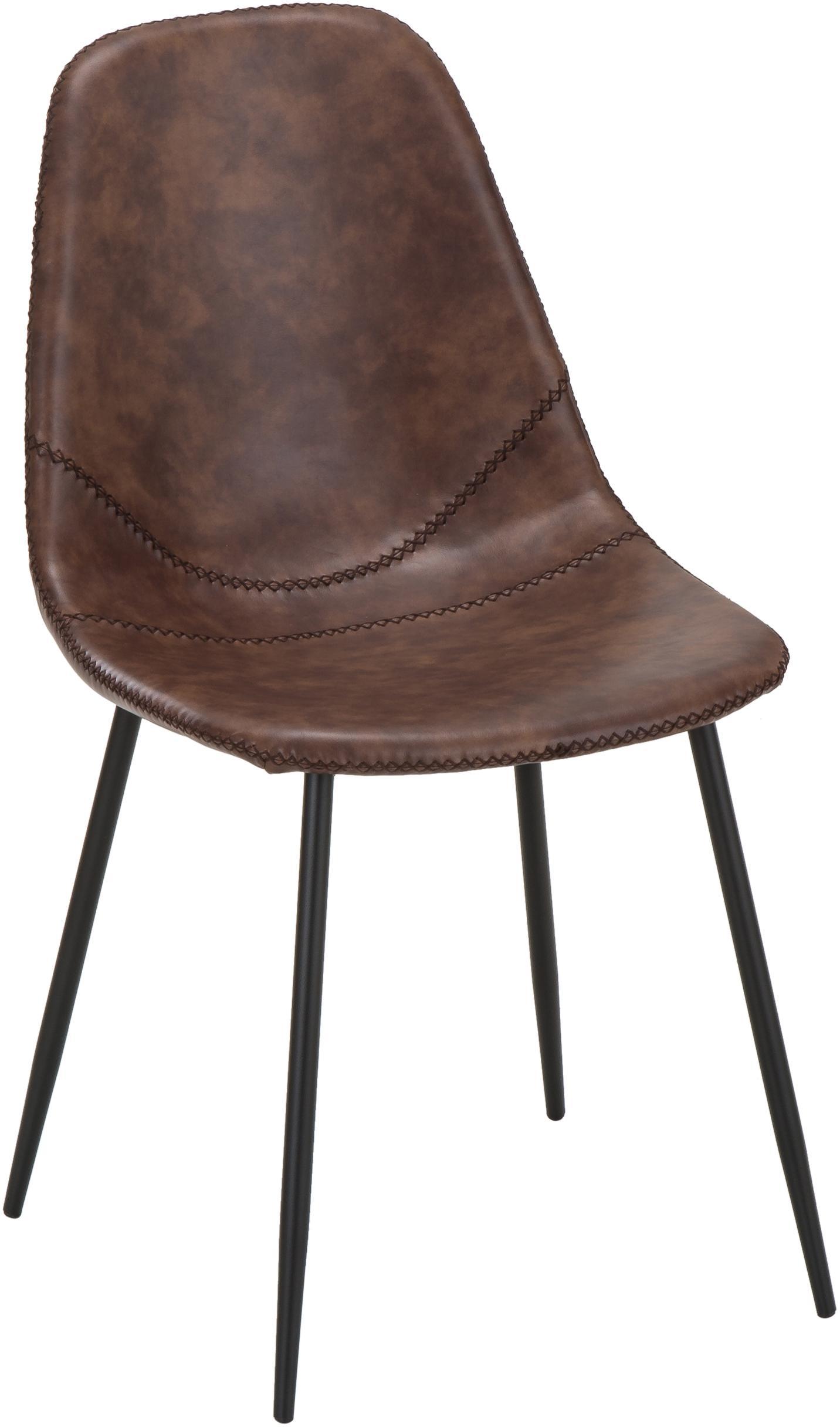 Sedia imbottita in similpelle Linus 2 pz, Rivestimento: similpelle (65% polietile, Gambe: metallo verniciato a polv, Rivestimento: marrone gambe: nero opaco, Larg. 41 x Prof. 53 cm