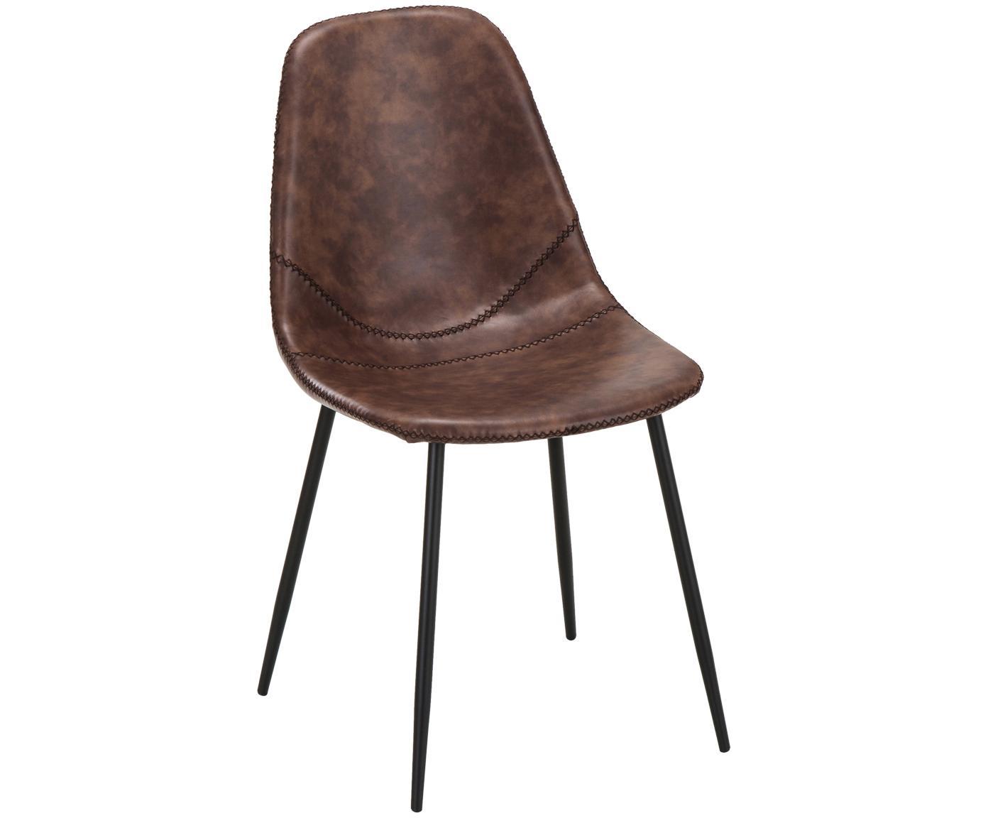 Imitatieleren gestoffeerde stoelen Linus, 2 stuks, Bekleding: imitatieleer (65% polyeth, Poten: gepoedercoat metaal, Bekleding: bruin. Poten: mat zwart, B 41  x D 53 cm