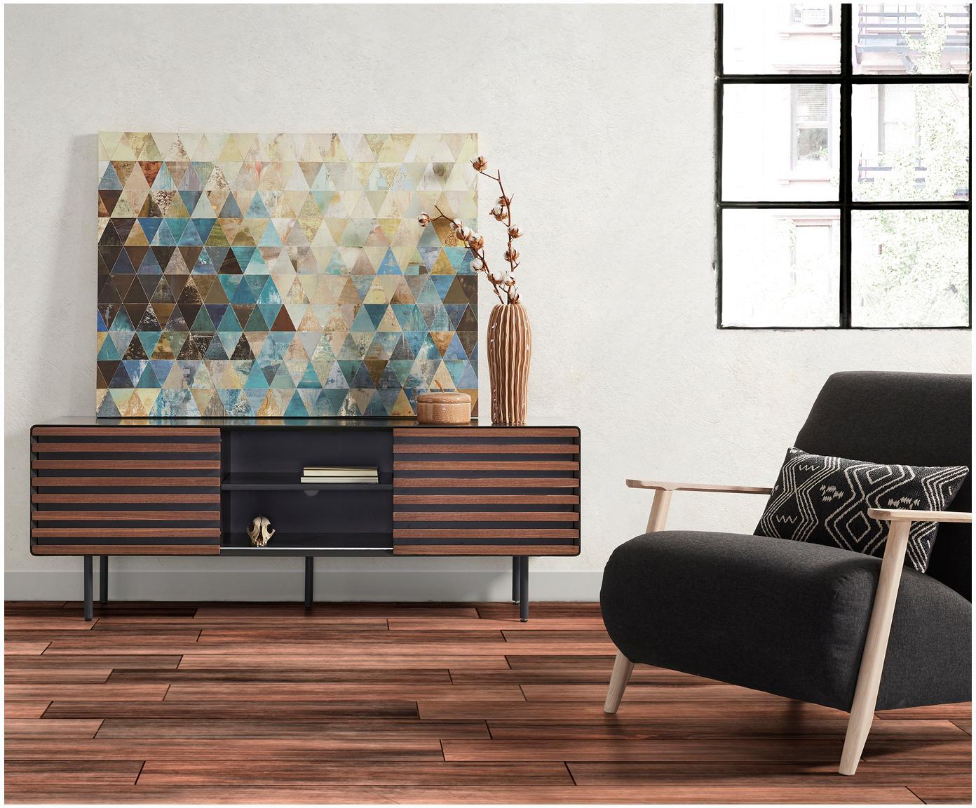 Szafka RTV Kesia, Grafitowy, drewno orzecha włoskiego, S 162 x W 58 cm