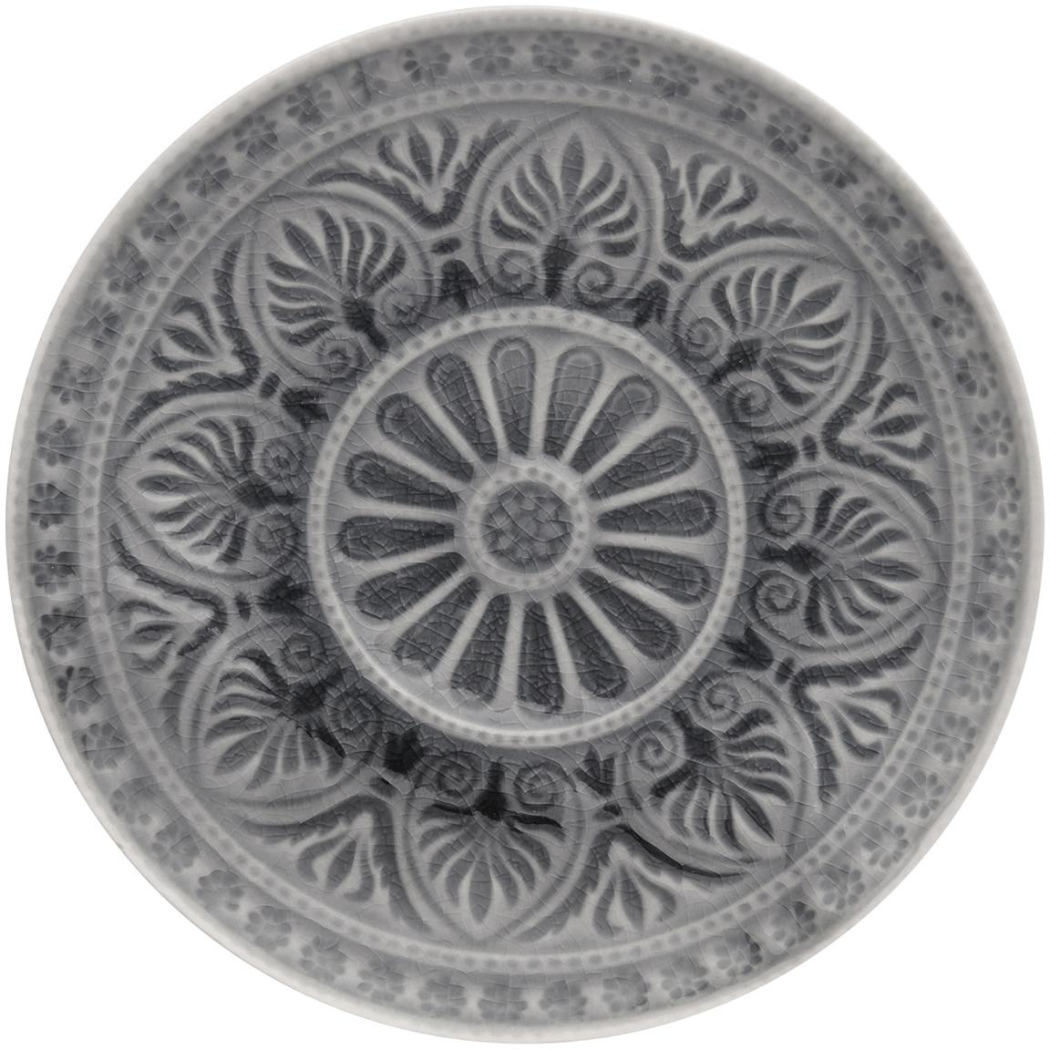 Handbemalte Brotteller Sumatra in Grau, 2 Stück, Steingut, Grau, Ø 14 x H 2 cm