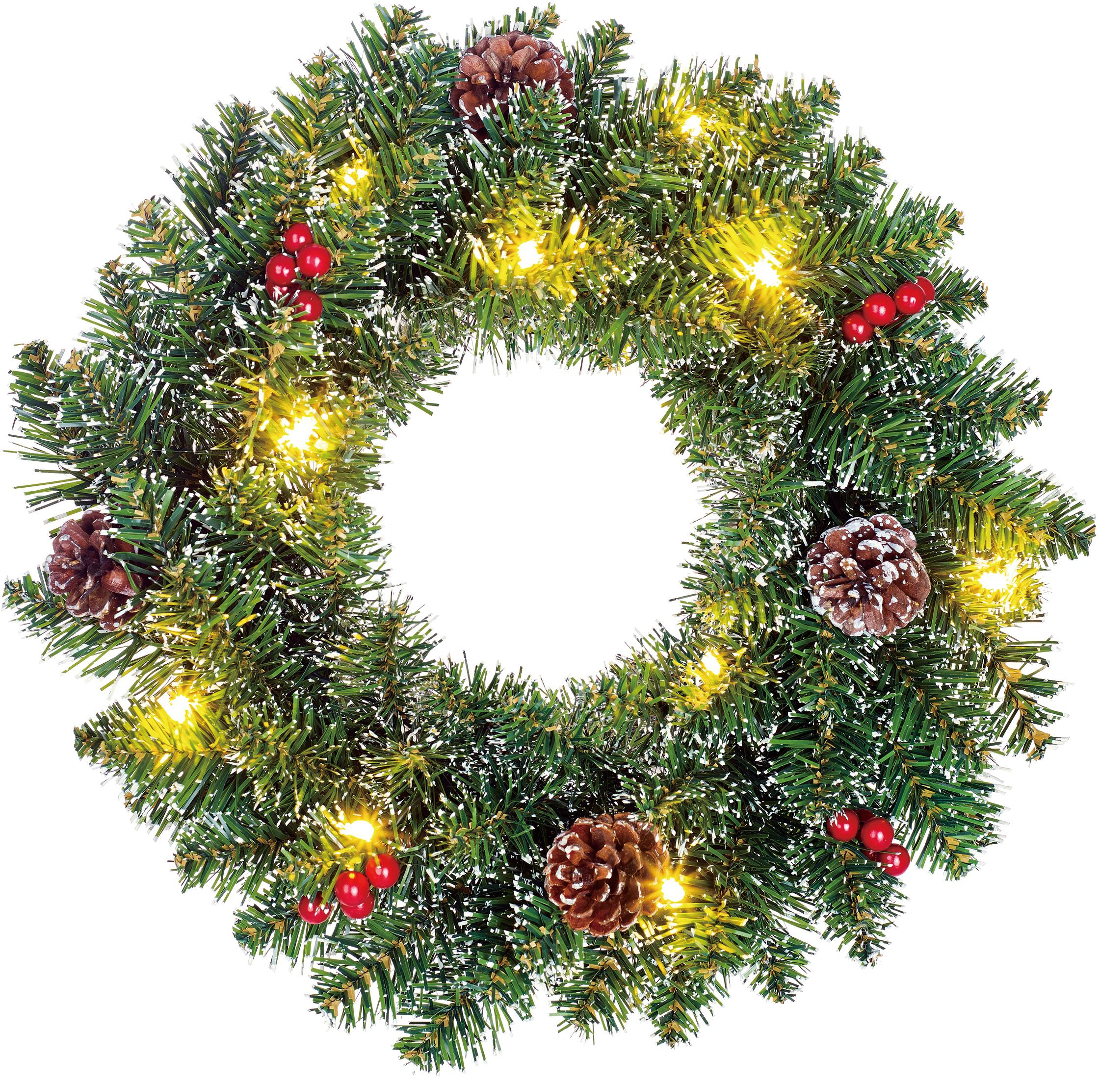 Corona navideña LED Creston, Plástico, Verde, rojo, marrón, Ø 35 cm