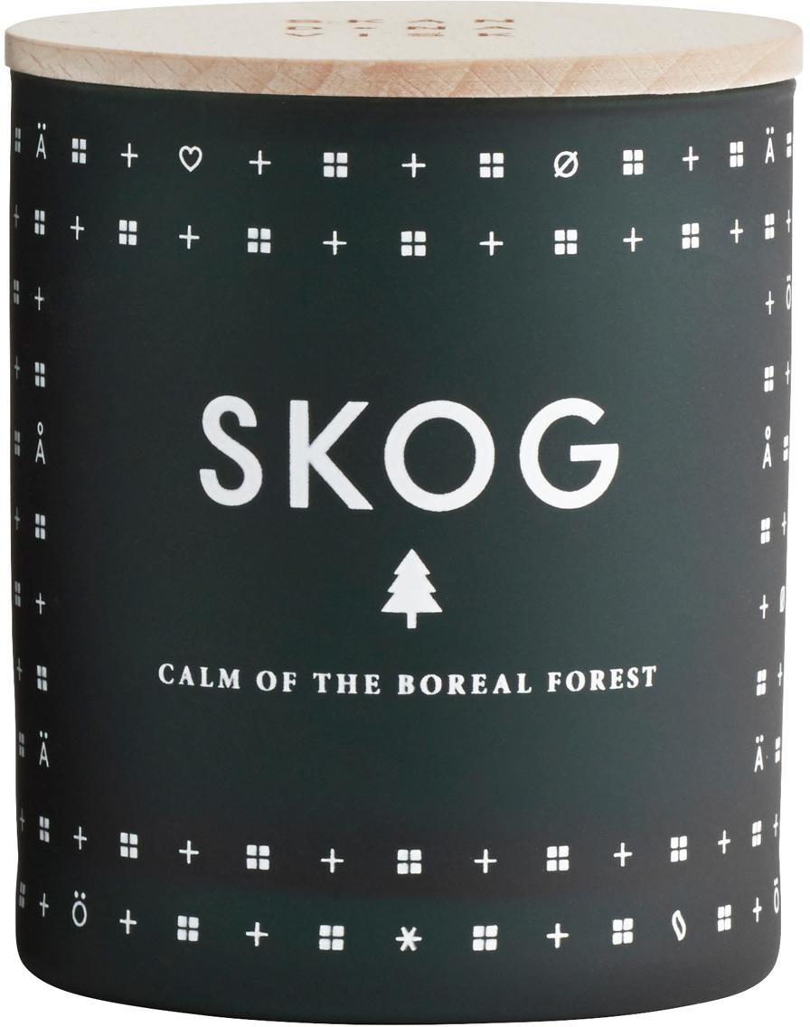 Duftkerze Skog (Piniennadeln), Behälter: Glas, Deckel: Buchenholz, Tannengrün, Ø 8 x H 9 cm